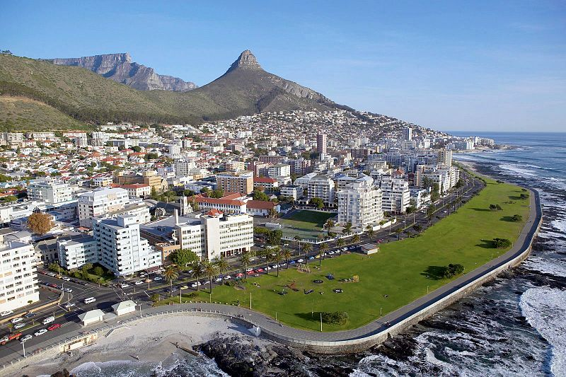 aerial view of Sea Point, Cape Town, South Africa with Lion's Head and Table Mountain visible