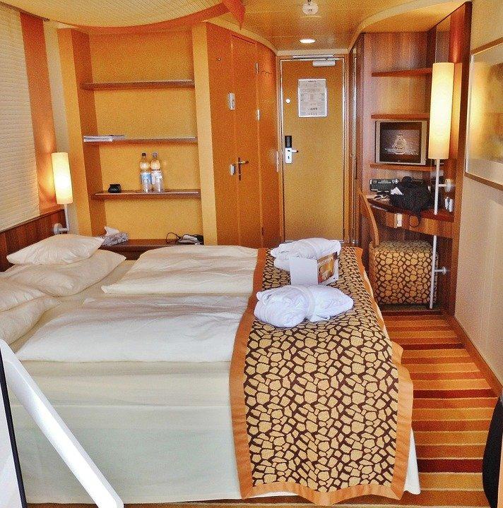 Interior of a cruise ship cabin room