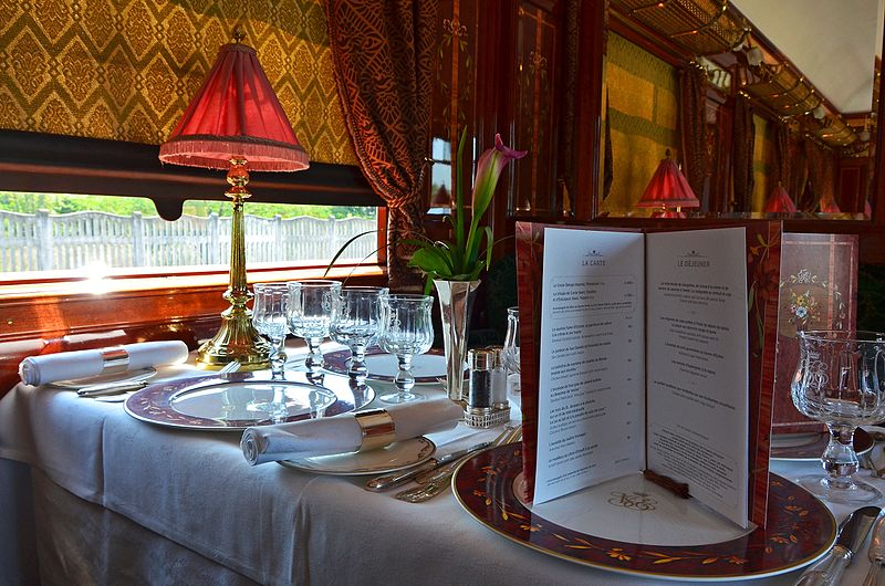 The interior of one restaurant car of Venice Simplon-Orient-Express
