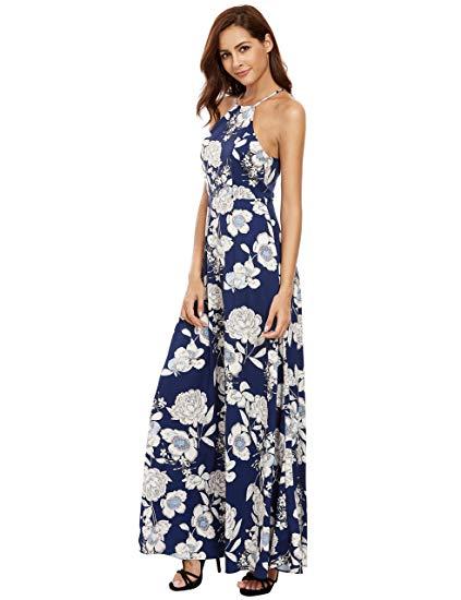 Floerns Womens Sleeveless Halter Neck Maxi Dress