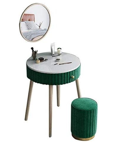 GRXXX Makeup Vanity Set with Drawers, Vanity Table Set with Cushioned Stool, Dressing Table Vanity Makeup Table for Bedroom, Bathroom, Closet Or Hallway in 5 Colors,Dark Green