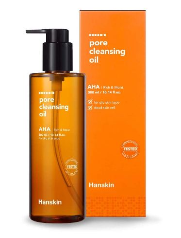 Hanskin Alpha Hydroxy Acid Pore Cleansing Oil, Exfoliating, Makeup Remover Facial Cleanser, Moisturizing for Soft Skin [AHA/10.14 oz.]
